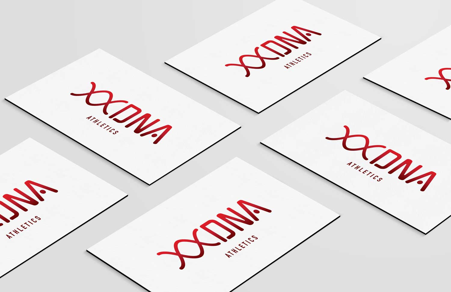 DNA Athletics logo business card mockup