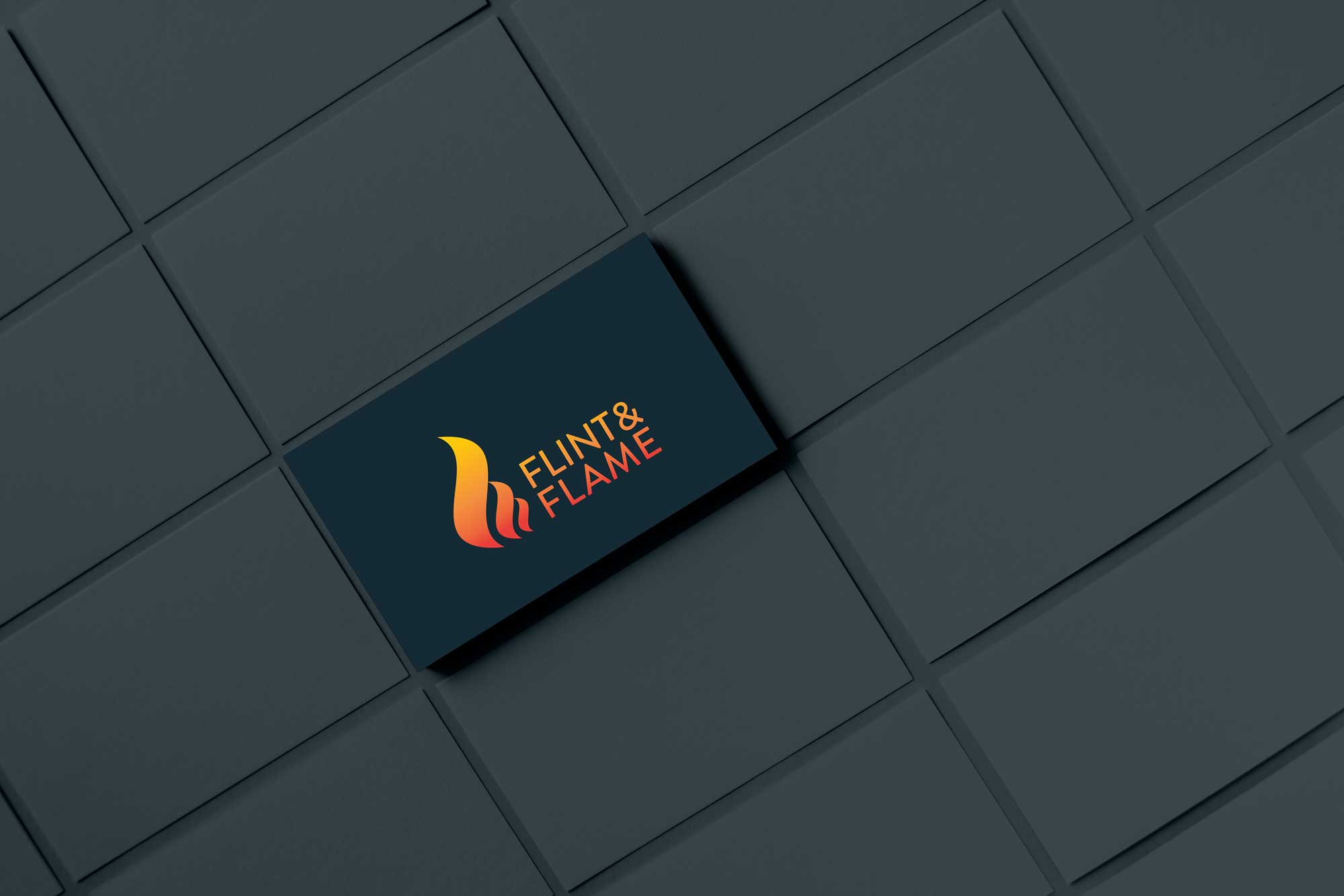 Flint & Flame logo business card mockup